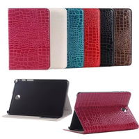 For Samsung Tab A T350 Cases Sparkle Crocodile Leather Flip Stand Tablet Cover For Samsung Galaxy