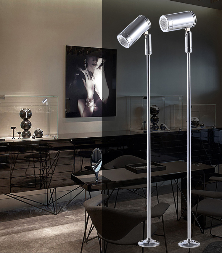 CREE led light display stand spotlight 3W silver 110V 120V 130V 220V 230V 240V aluminum jewelry cabinet led lights