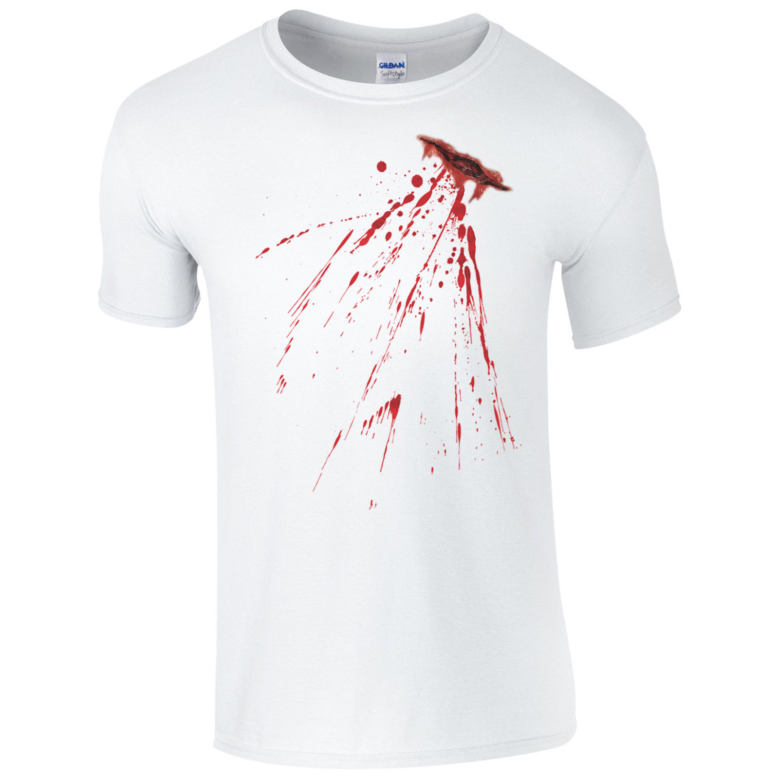 Fake Bloody Stab Wound T-Shirt - Halloween Knife Cut Stain Fancy Dress Mens Top Funny Tops Tee New Unisex free shipping