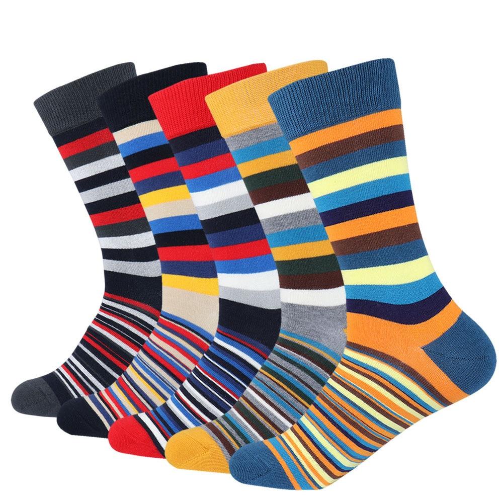 Mens Colorful Argyle Striped Business Dress Socks Funky Novelty Men Stripes Cotton Long Sock EU 38-43
