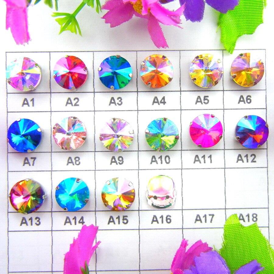 Ngjyra AB Cilësimet e kthetrave argjendi 7 madhësi Rivoli formë e rrumbullakët Qep në gotë Rroba kristali rruaza rhinestone pajisje rrobash