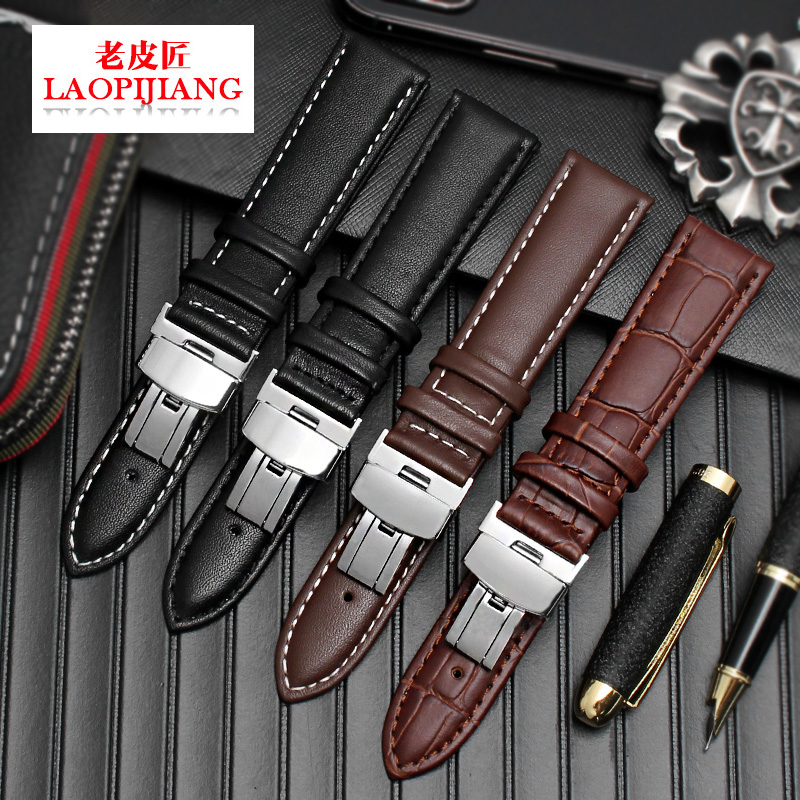 Fit 20mm 21mm 22mm 24mm Watch Classical Style Black Brown Genuine Leather Watchband Strap With Butterfly Buckle For Men Female