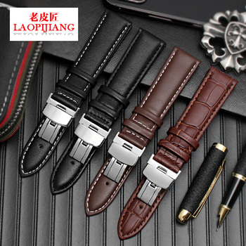 Fit 20mm 21mm 22mm 24mm watch classical style black brown genuine Leather Watchband strap with butterfly buckle for men female цена 2017