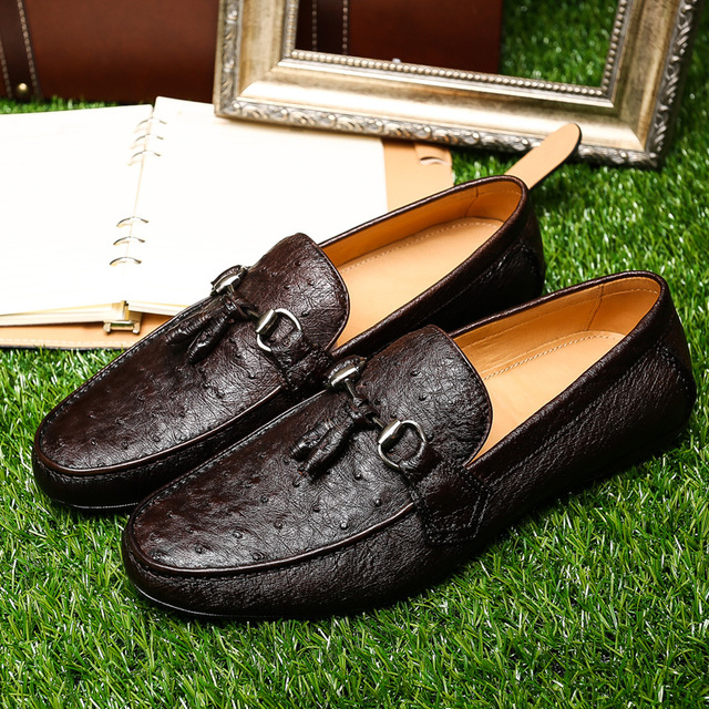 f3c6f31d4b New Arrival High Quality Ostrich Skin Shoes Fashion High-end Men Leather  Loafers Men s Casual Driving Shoes Free Shipping