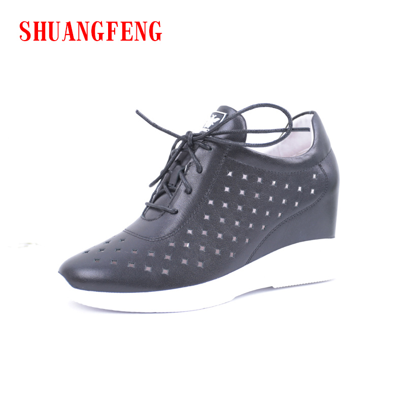 цена на SHUANGFENG 2018 Spring Summer Women Genuine Leather Shoes Woman Wedges Female shoes Women Sneakers tenis feminino zapatos mujer
