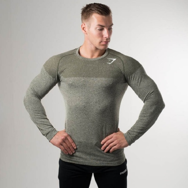 Men Professional Fitness T-shirts Red Gray Muscle Brothers GymShark T-Shirt Seamless Tight Long-sleeved T-shirt