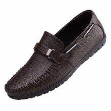 2017 Hombres de Cuero de Vaca Pisos De Conducción Zapatos del Barco Los Hombres, Hombres de La Moda Mocasines Chaussure Homme Hombres Suela de Cuero Suave Zapatos casuales
