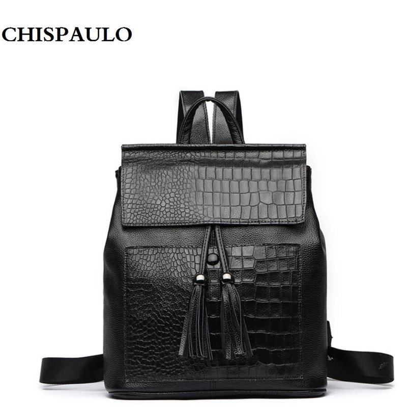 Genuine Leather Women Backpack Luxury Designer Brand Tassel Schoolbag College Style Female Travel Bag Young Girl's Shoulder Bags