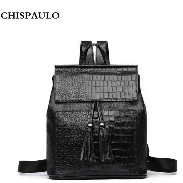 Genuine Leather Women Backpack Luxury Designer Brand Tassel Schoolbag  College Style Female Travel Bag Young Girl s Shoulder Bags ffe5c3a05a79e