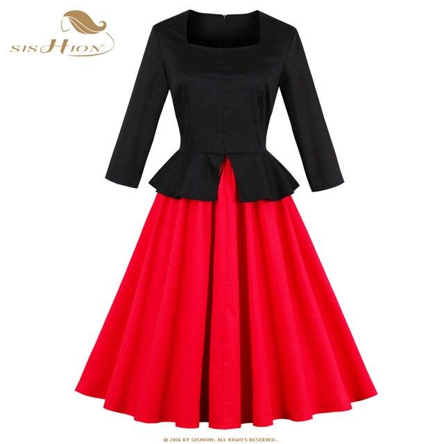 3be4938a2e SISHION Vestito Delle Donne di Autunno Manica Lunga Nero e Rosso Patchwork  50 s 60 s
