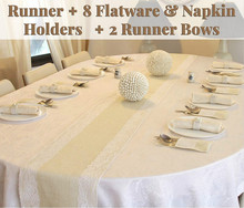 Full Set Rustic Table Runner with 8 Flatware Holders, Napkin Holders and 2 Bows - Hessian Burlap Jute Lace