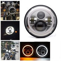 7 Led H4 Headlight Lamp Assembly For Harley Electra Street Glide Road King For Harley Touring 7 Inch Halo Headlights