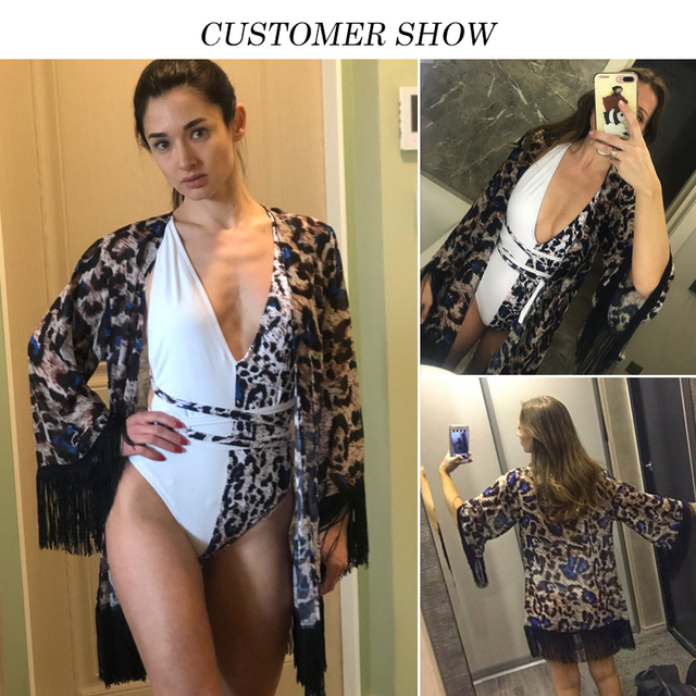 Tassel Leopard chiffon beach cover-ups Tunics for beach kaftan Bikini cover up robe de plage Sarong beach swimsuit cover up 2019 2