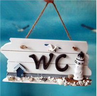 Mediterranean Style Home Toilet Decor Plaques WC Sign Board For Bar Cafe Shop Store Door Hanging
