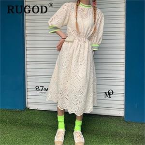 Image 4 - RUGOD vestido midi de encaje bordado para verano, elegante vestido con volantes para mujer, estilo coreano chi, para fiesta en la playa