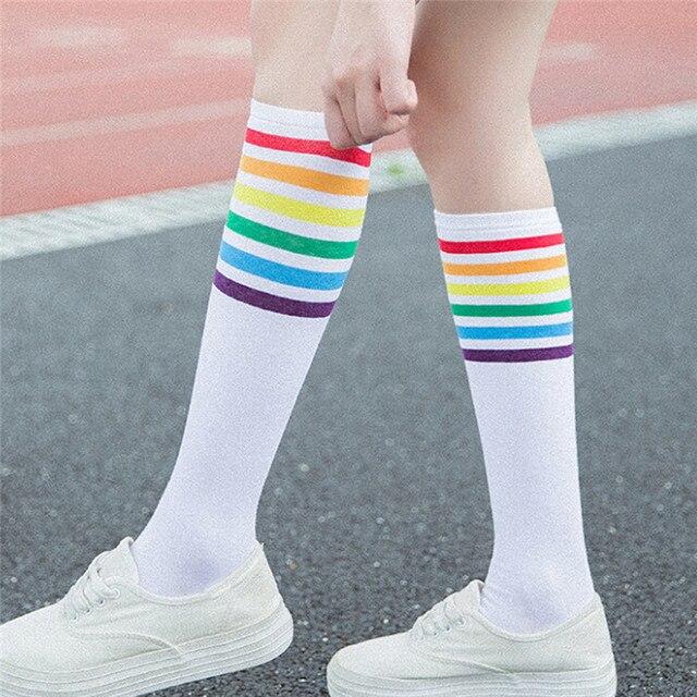 80cde0a1776 Kids Knee High Socks For Girls Boys Stripes Cotton Old School White Socks  Skate Children Baby Long Tube Leg Warm