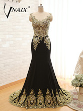 EW1632 Real Picture Free Shipping Black Scoop Gold Appliques Women Formal Evening Dress 2017 Customized Mermaid Long Party Dress