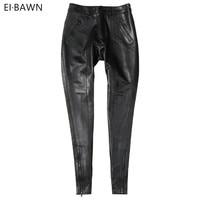 Genuine Leather Pants Women High Waist Black Lady Pant Vintage Sheepskin Autumn Winter Plus Size Streetwear Leather Pants Women