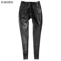 Genuine Leather Pants Women High Waist Black Pants Ladies Sheepskin Autumn Winter Plus Size Streetwear Skinny Leather Pants 2019