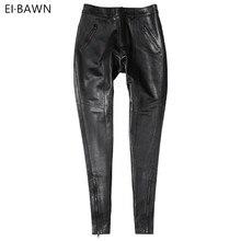 Pantalones de cuero genuino de las mujeres de alta cintura negro pantalones señoras de piel de oveja otoño invierno más tamaño Streetwear pantalones de cuero flaco 2019