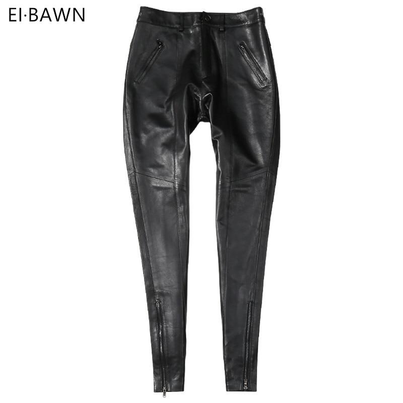 Pantaloni di Cuoio genuino Delle Donne A Vita Alta Nero Pantaloni Delle Signore di pelle di Pecora di Inverno di Autunno Più Il Formato Streetwear Pantaloni di Pelle Attillati 2019