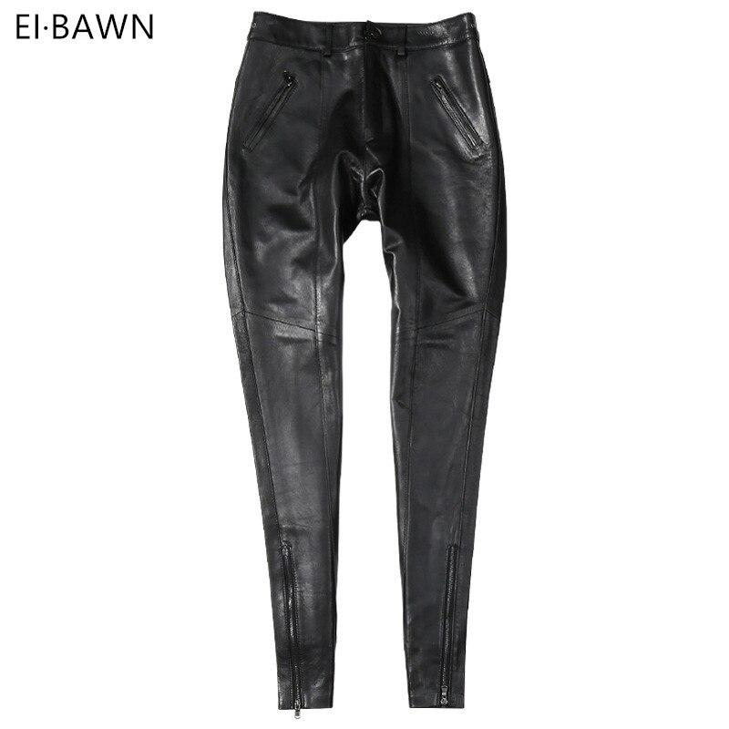 Véritable Pantalon En Cuir Femmes Taille Haute Noir Lady Pantalon Vintage en peau de Mouton Automne Hiver Plus La Taille Streetwear Pantalon En Cuir Femmes