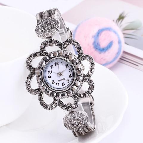 Shsby women Jewelry Watches Casual Quartz Bracelet Watch lady flower Rhinestone Clock Women Luxury Crystal Dress Wristwatches Karachi