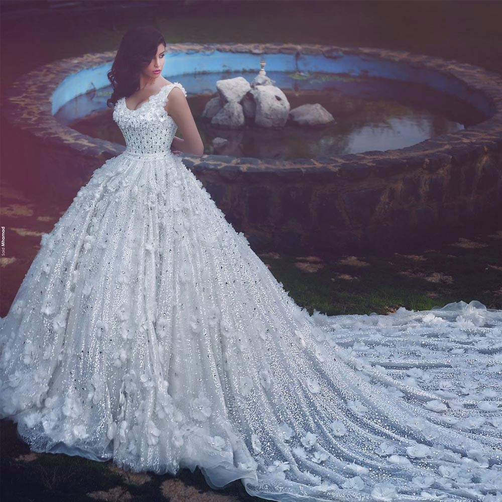 Ball Gown Wedding Dresses With Train: Said Mhamad Scoop Ball Gown Wedding Gowns Luxury Hand Made