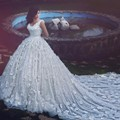 Said Mhamad Scoop Ball Gown Wedding Gowns Luxury Hand Made Flowers Crystal Beading Cathedral Train Sexy Backless Wedding Dresses