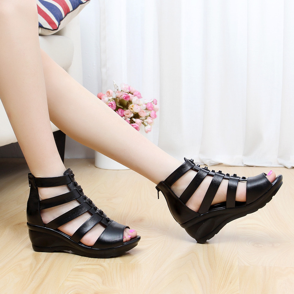 0398P female sandals wedge comfortable middle-aged and old womens shoes0398P female sandals wedge comfortable middle-aged and old womens shoes