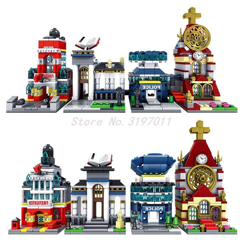 Legoedly City Architecture Mini Street Scene View Church Library Police Fire Station Book Store Building Blocks Model Sets Toys