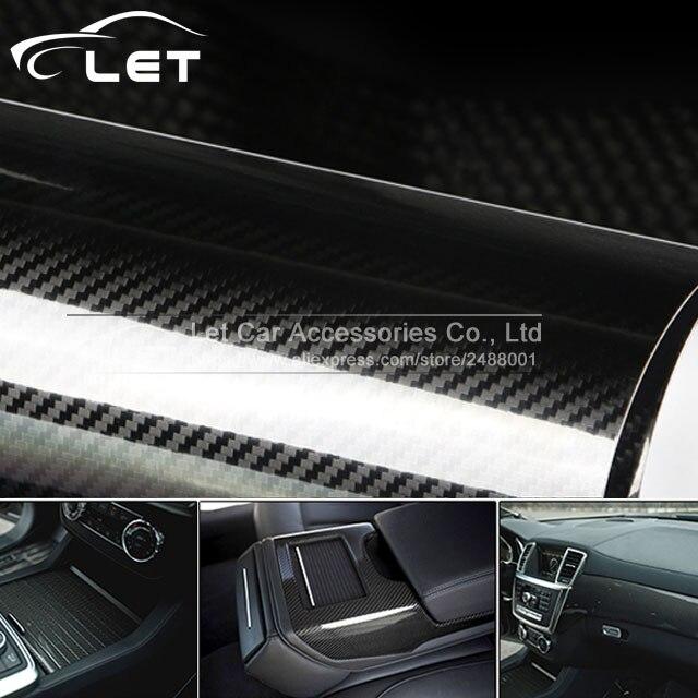 1.52x20m/Roll Car Styling high glossy 5D black carbon fiber vinyl film carbon fiber car wrap sheet Roll film Car sticker Decal
