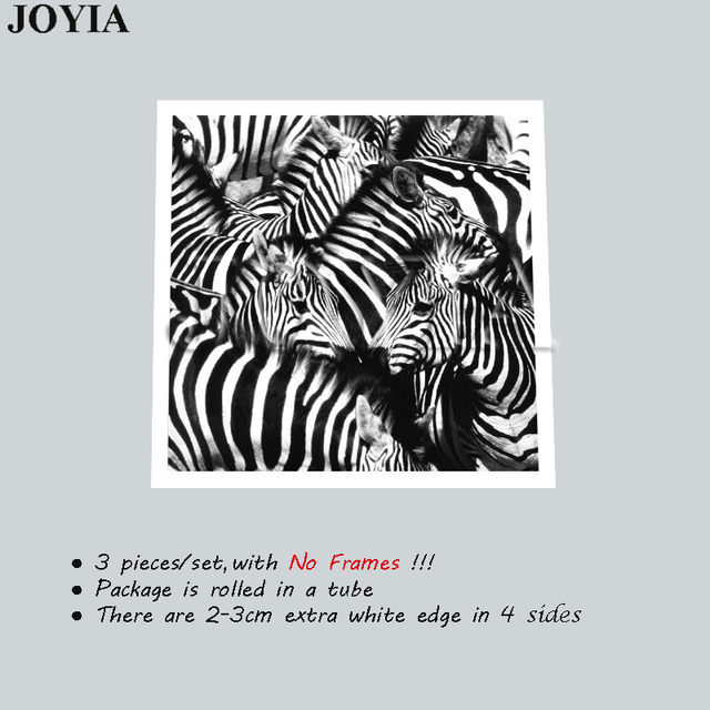 Online Shop 3 Piece Wall Art Paintings Black and White Zebra ...