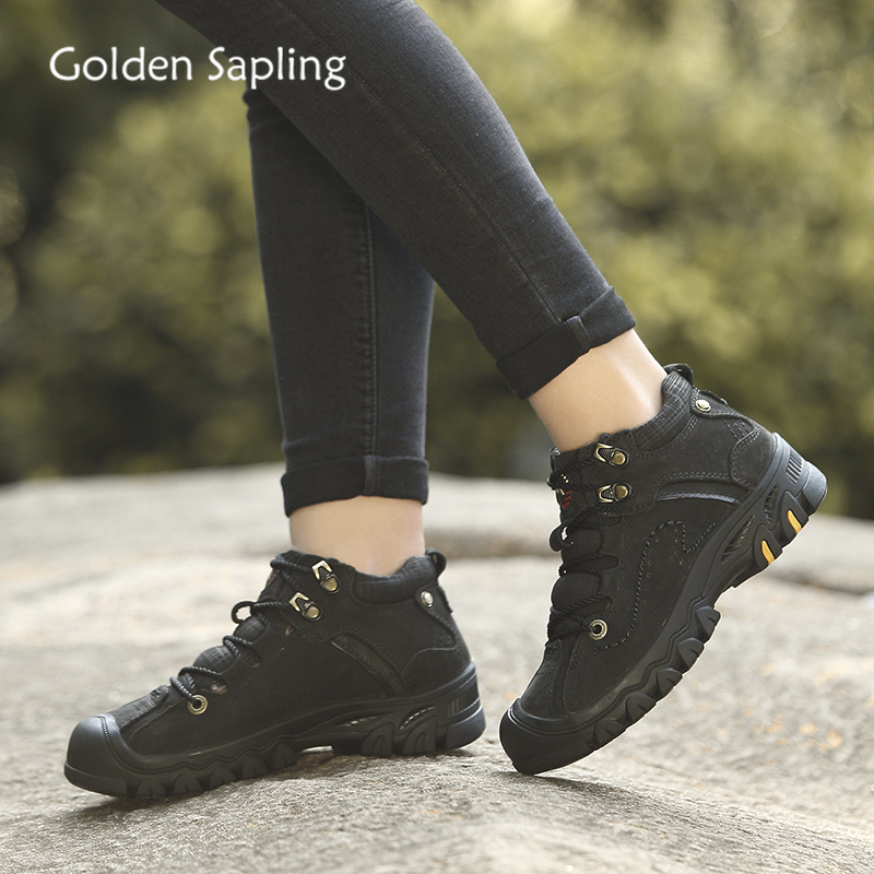 Golden Sapling Woman Mountain Boots Black Genuine Leather Women s Hiking Shoes Platform Rubber Hiking Boots