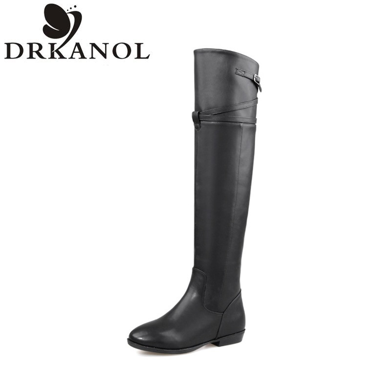 ФОТО Women Boots Over The Knee Boots Women Leather Zip Buckle Black Long Boots Winter Warm Fashion Boots botte femme botas mujer