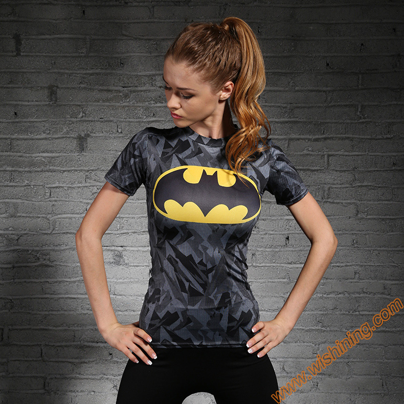 2017 Superhero Capatin America Superman Batman Compression T-Shirt Womens Girls Black Red Blue Superhero Tee Shirts