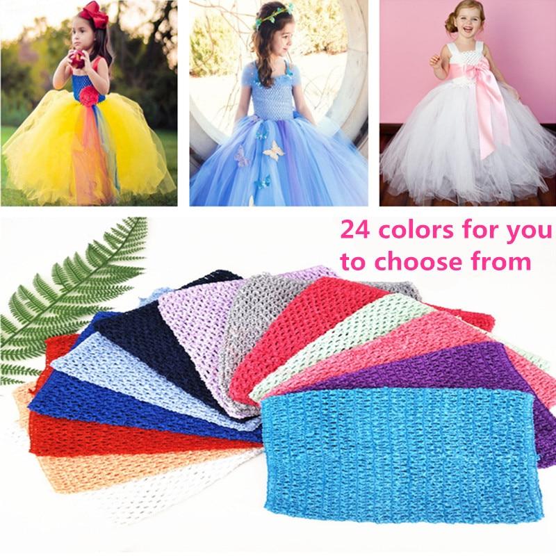 20x23CM TuTu Tube Tops 9inches Girl Elastic Crochet Chest Wrap Handmade Knit Fabric Skirt Dress Accessories 24 Colors 6Z-SH939