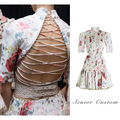 European leg Ukraine 2016 Runway Hot High-end Luxury Vintage Printing Pleated dresses Beaded Backless Women Dress Summer Dress