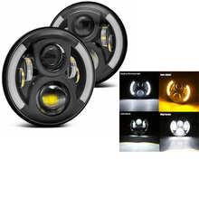 2 Chiếc Ô Tô Xe Máy 7 Inch Vòng Đèn Pha LED Cho Xe Jeep Wrangler JK TJ Hummer H1 H2 12V 24V Dành Cho Xe Suzuki Samurai Lada 4X4 Đô Thị Niva