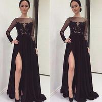 Split Prom Dresses 2019 Black Appliques Sexy Chiffon Floor Length A line Evening Gowns With Long Sleeves prom dress