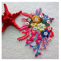 Wholesale 50PCS Beaded Flower Patches 3D Flowers Patch Handmade parch for Clothes Sew on Appliqued DIY Decoration