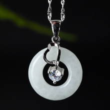 Hetian Jade Safety Button Pendant S925 Silver Necklace Chinese Style Hand-carved PingAnKou Lucky Amulet Jewelry gift