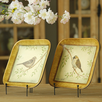 American country Fashion Crafts Ornament bird perch fillet four pastoral square ceramic decorative plate 2 selected