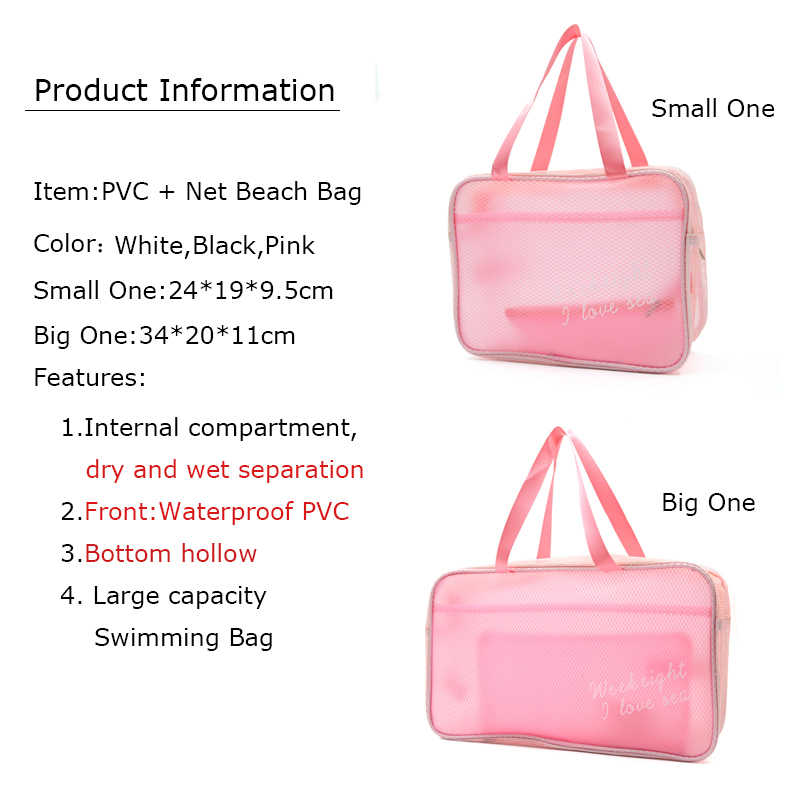 df689f3e33 ... BONAMIE Dry Wet Separate Travel Summer Mesh Beach Bag Transparent PVC +  Net Composite Bag Pink ...