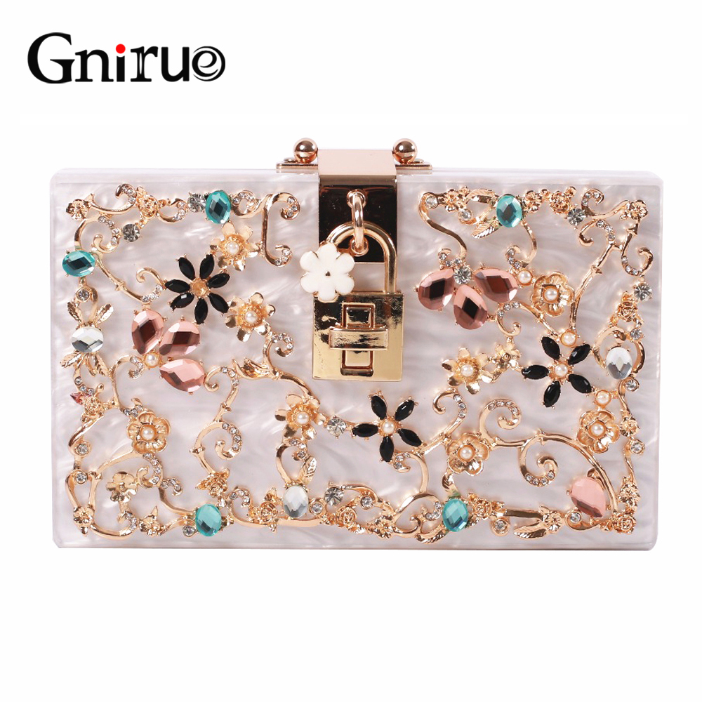 Fashion Metal Hollow Flower Diamond Evening Bags Acrylic Clutch Bags Women's Shoulder Bag Luxury Party Wedding Handbag Purses