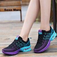 Outdoor Women Net Cloth Casual Walking Shoes Flat Jogging Shoes Air Cushion Damping Fashion Cozy Common