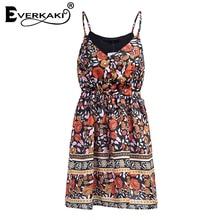 Everkaki Women Boho Floral Print Lace Up Button Dress Adjustable Waist V Neck Mini Dresses Sleeveless