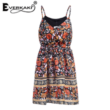 Everkaki Women Boho Floral Print Lace Up Button Dress Adjustable Waist V Neck Mini Dresses Sleeveless Bohemian Dress 2018 Summer