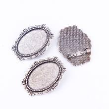 New Fashion Hexagon 1pcs 30*20mm Inner Size Sliver/Gold Pin Sun Brooch Pierced Style Base Setting Pendant(China)