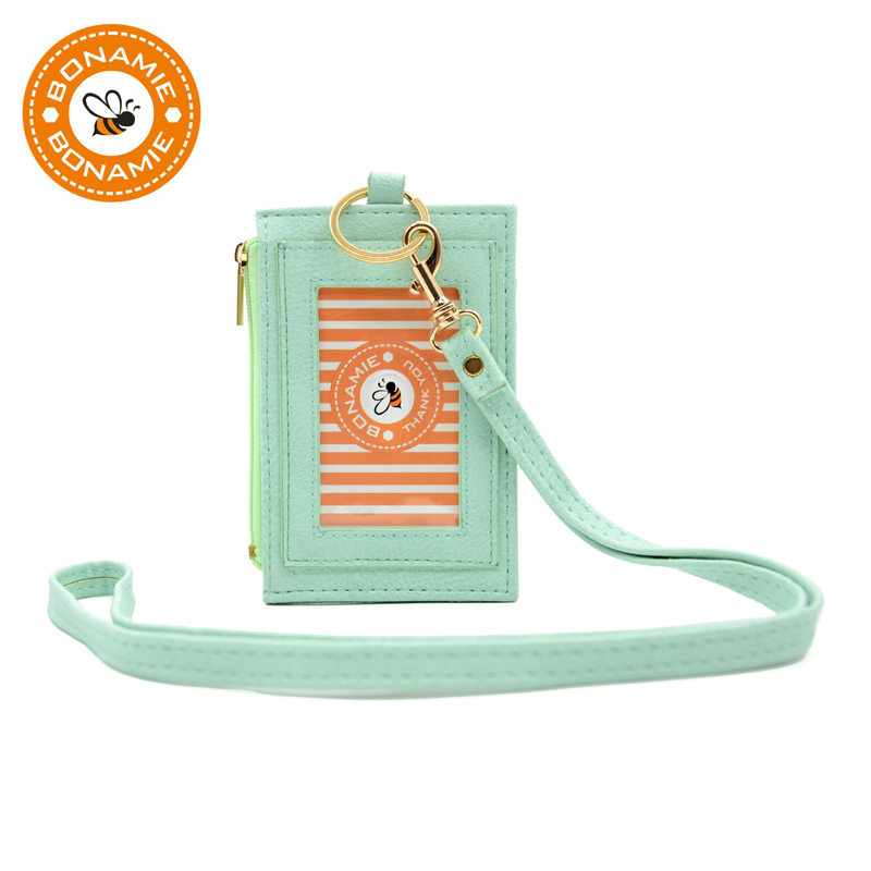 BONAMIE Leather Lanyard Card Holder For Women Neck Hanging Key Hook Bus ID Cards Holder Name Badge Cards Cover Girl Coin Purse